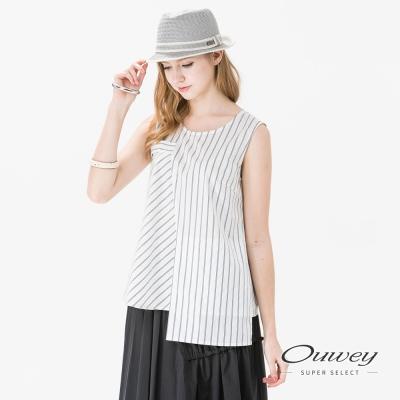OUWEY歐薇 不規則條紋棉質無袖上衣(白)