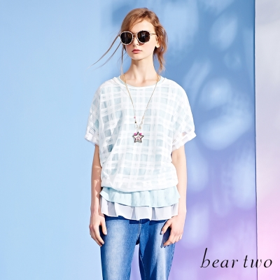 beartwo側綁帶雪紡拼接質感壓紋上衣-二色