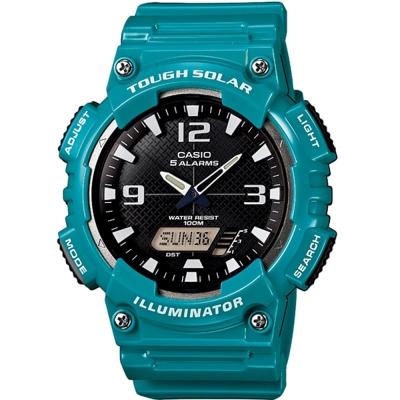 CASIO 新一代遊俠雙顯運動錶(AQ-S810WC-3A)-黑面x藍綠色52mm