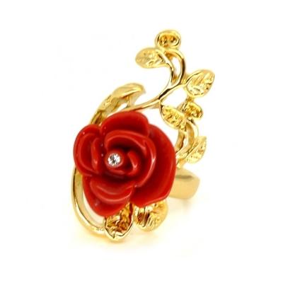迪士尼 DISNEY COUTURE 白雪公主 紅玫瑰花戒指 大朵 鑲水晶金葉子