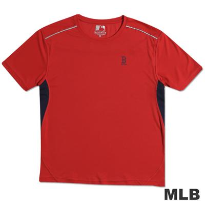 MLB-波士頓紅襪隊反光合身吸濕排汗T恤-紅(男)