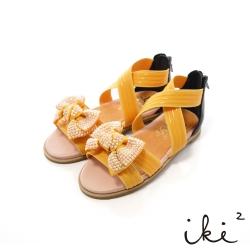iki2童鞋-可愛鑽飾蝴蝶結彈性交叉涼鞋-繽紛黃