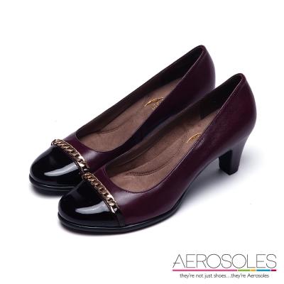 AEROSOLES-典雅真皮金屬鍊高跟鞋-性感酒紅