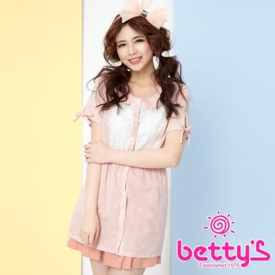 betty-s貝蒂思-花瓣領蕾絲拼接純棉襯衫