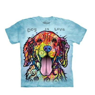 摩達客 美國進口The Mountain 彩繪開心黃金獵犬 純棉環保短袖T恤