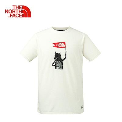 The North Face北面男款白色舒適休閒短袖T恤