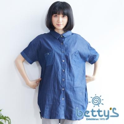 betty's貝蒂思 拼接點點口袋長版襯衫(丹寧藍)