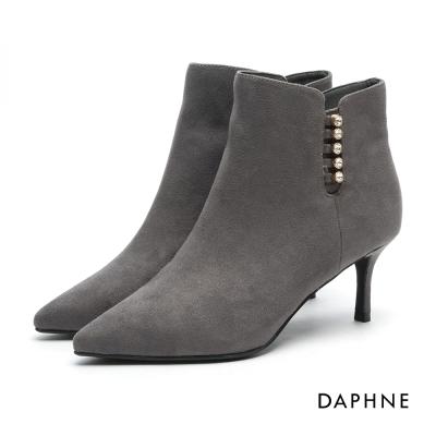 達芙妮DAPHNE 踝靴-水鑽絨面尖頭中跟踝靴-灰
