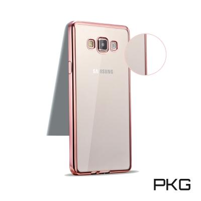 PKG Samsung A7-2017 超值電鍍金邊手機套(玫瑰金邊)