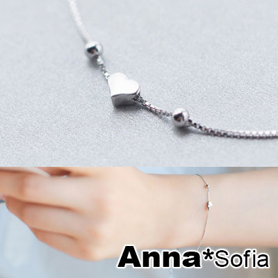 AnnaSofia 迷你甜心細鍊 925純銀手環手鍊(銀系)