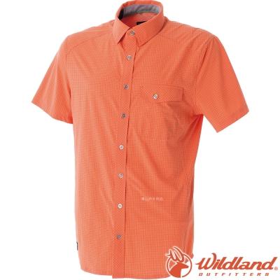 Wildland 荒野 0A51208-84橘 男 彈性格子布短袖襯衫 透氣排汗