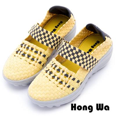 Hong Wa - 運動休閒透氣械型編織布鞋 - 黃