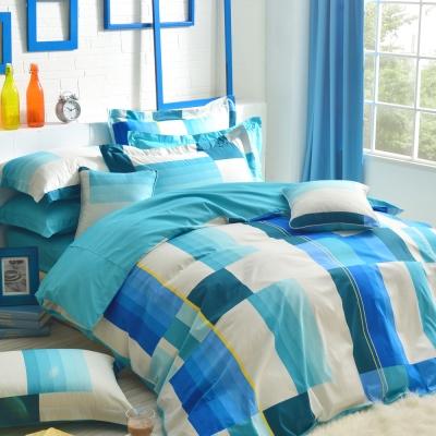韓式風格-藍-精梳棉-加大四件式薄被套床包組
