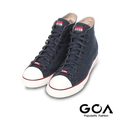 GOA 男款牛仔單寧內增高高筒帆布鞋-深藍