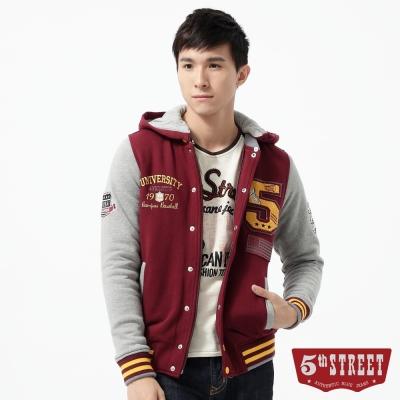 5th STREET 外套  大5貼布繡鋪棉棒球外套-男-朱紅