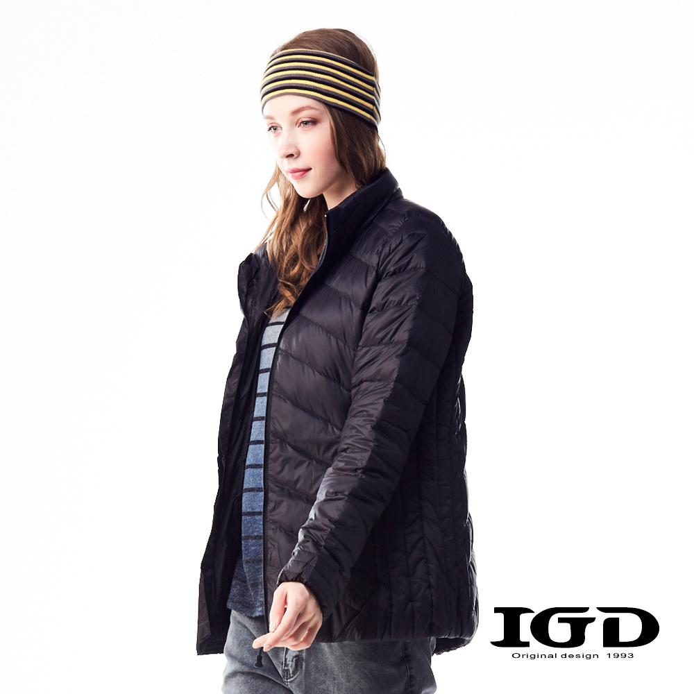 IGD英格麗90輕量保暖短版羽絨外套-黑色