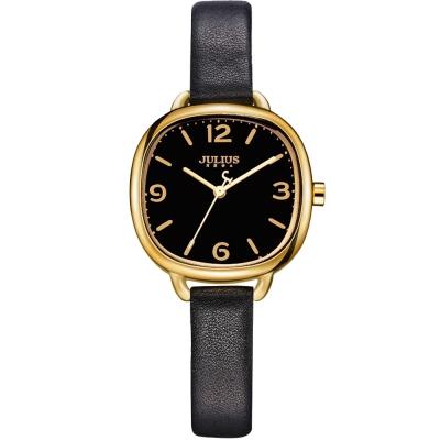 JULIUS聚利時 微甜午茶復古皮帶腕錶-黑色/30x30mm