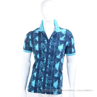 BOSS 藍色花紋短袖POLO衫