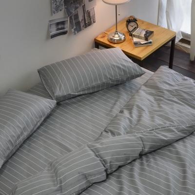 絲薇諾 MIT精梳純棉 換日線-灰色 雙人加大6尺-薄床包薄被套組