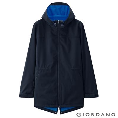 GIORDANO 男裝素色搖粒絨中長版修身連帽外套- 66 標誌海軍藍