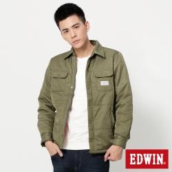 EDWIN 襯衫式鋪棉外套-男-橄欖綠