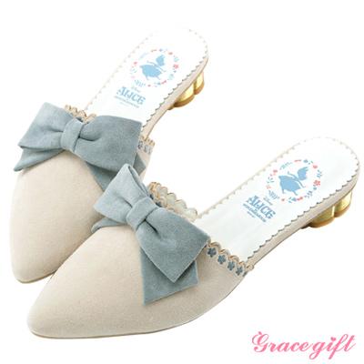 Disney collection by grace gift花邊金屬低跟穆勒鞋 白
