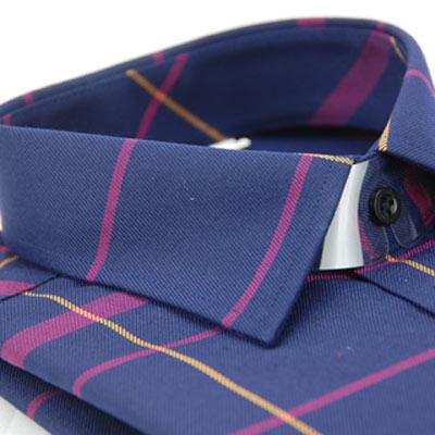 金‧安德森 深藍底黃紅大線格保暖窄版長袖襯衫fast