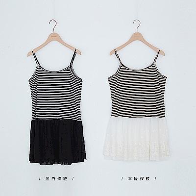 beartwo 橫紋拼接蕾絲裙細肩帶背心洋裝(二色)