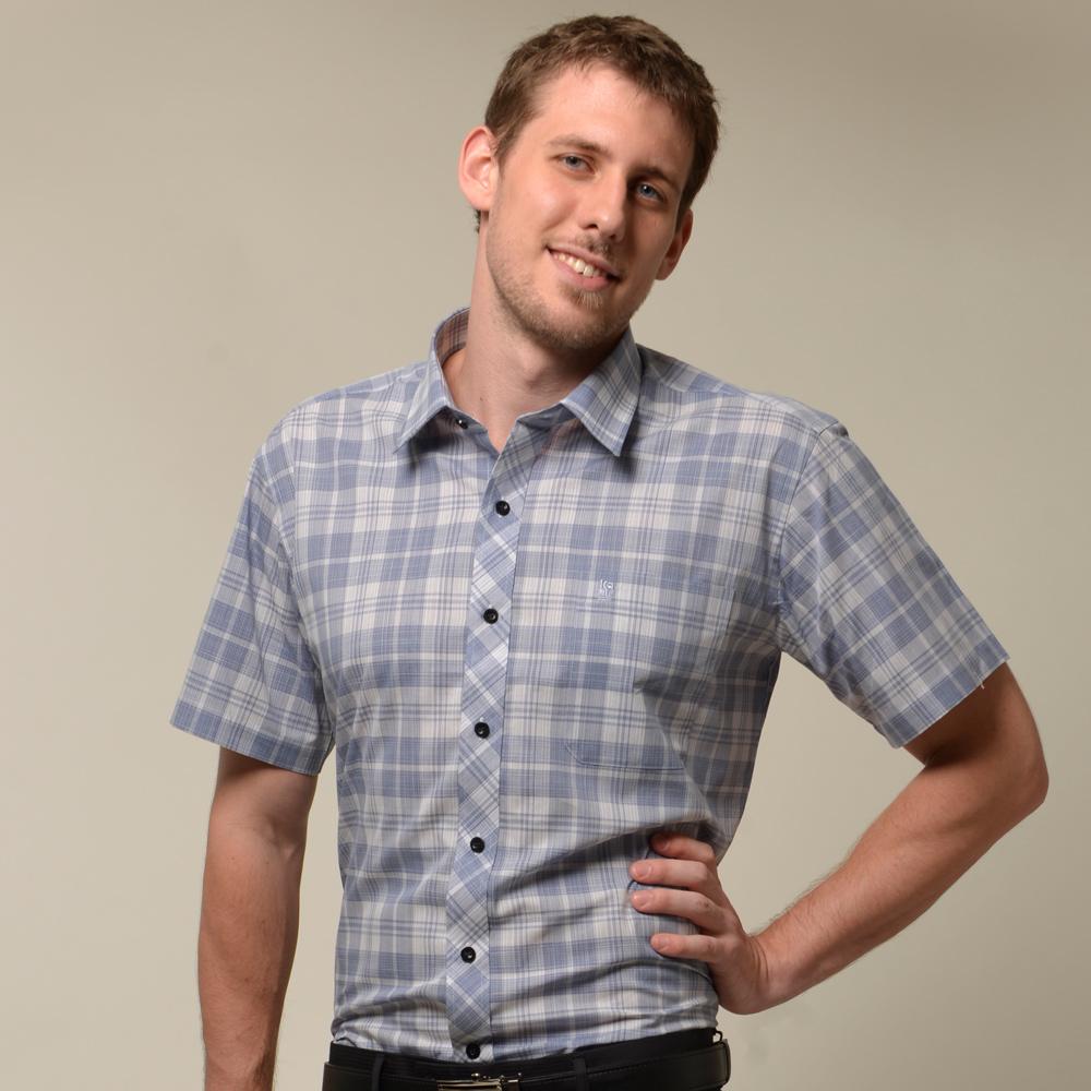 金‧安德森 藍色經典格黑扣窄版短袖襯衫
