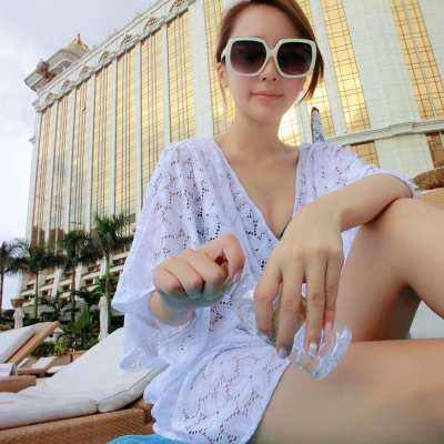 Biki比基尼妮,純白色遮手臂透膚罩衫可內搭比基尼(單賣罩衫)