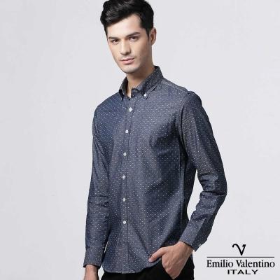 Emilio Valentino 范倫提諾圓點緹花修身襯衫-深藍