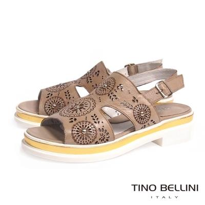 Tino Bellini 義大利進口精緻雷射雕花全真皮厚底涼鞋_駝