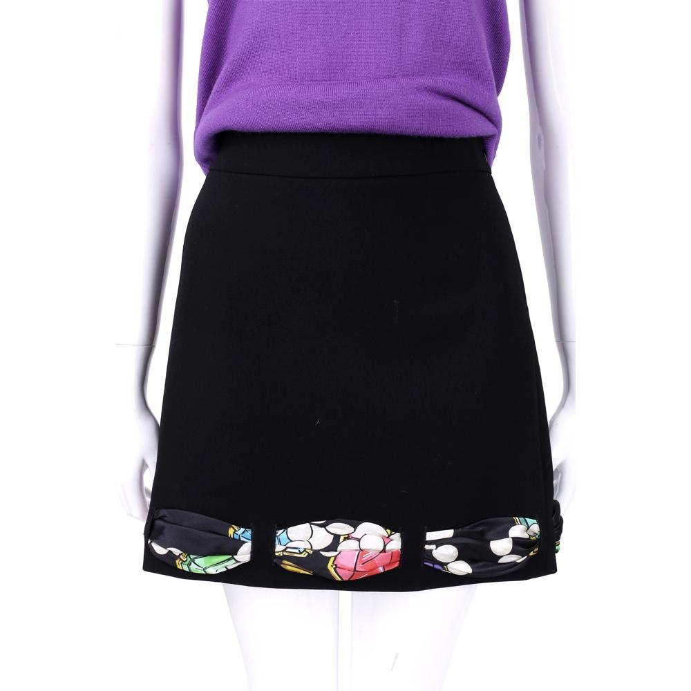 BOUTIQUE MOSCHINO 黑色印花絲巾滾邊及膝裙