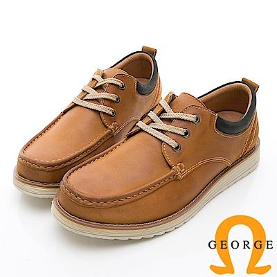 GEORGE 喬治-休閒系列 輕量舒適綁帶休閒鞋-土黃