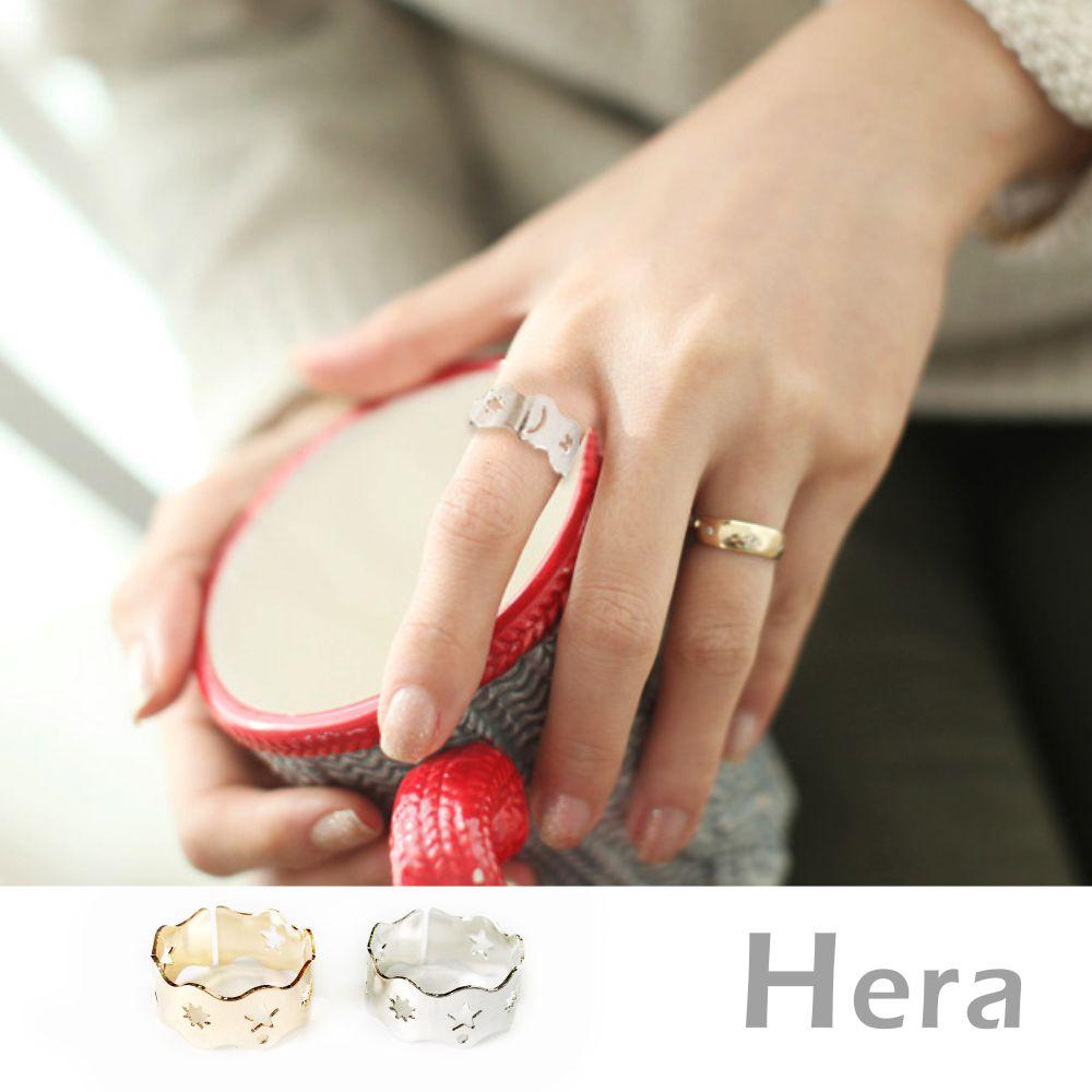 Hera赫拉 波浪鏤空五角星星月亮戒指/開口戒/可調戒(2色)