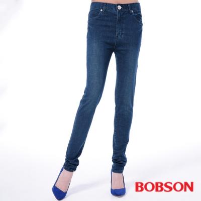 BOBSON   女款高腰膠原蛋白美肌褲-深藍