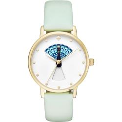 Kate Spade Metro 孔雀開屏腕錶-白x綠色錶帶/34mm