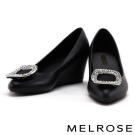 楔型鞋 MELROSE 閃耀方鑽果凍材質香香楔型鞋-黑