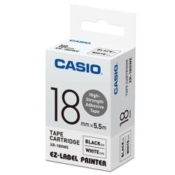 CASIO  標籤機專用特殊色帶-18mm(高黏性材質)白底黑字-XR-18GWE1