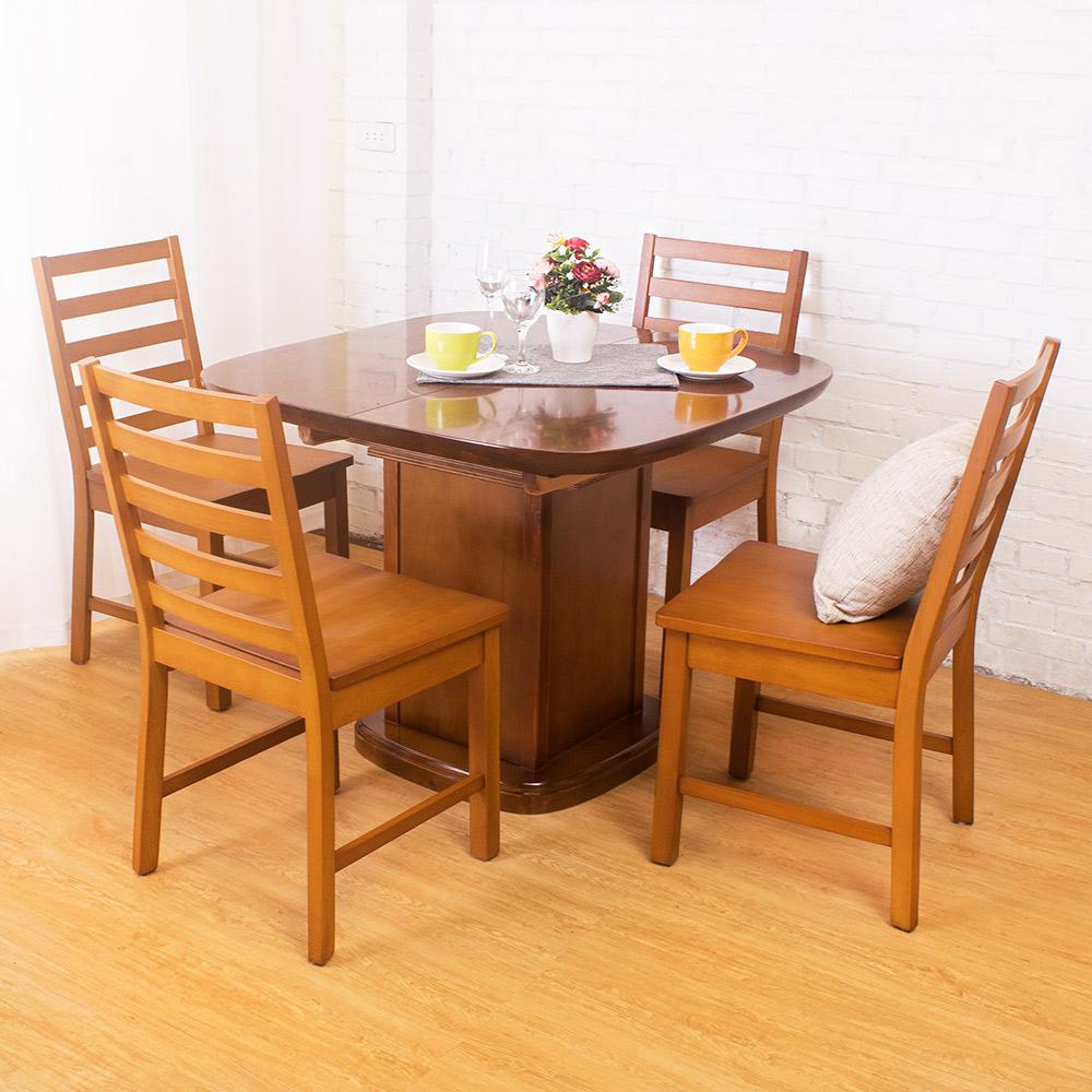 Bernice-迪爾實木餐桌椅組(一桌四椅)-97~140-x97x75cm