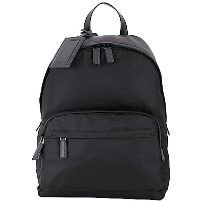 PRADA 前袋設計名牌吊飾尼龍後背包(黑色)