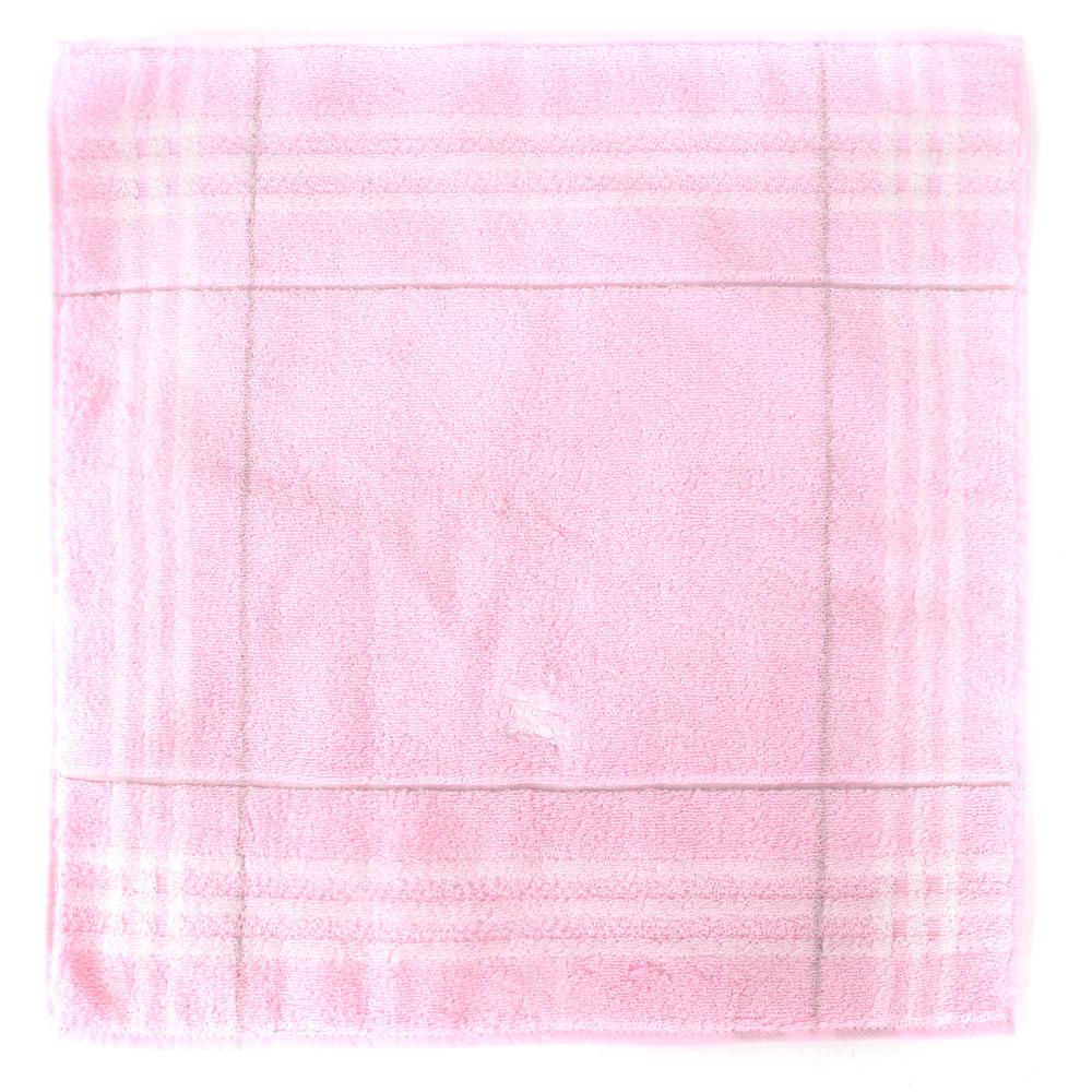 BURBERRY 經典格紋戰馬刺繡短毛巾-粉紅