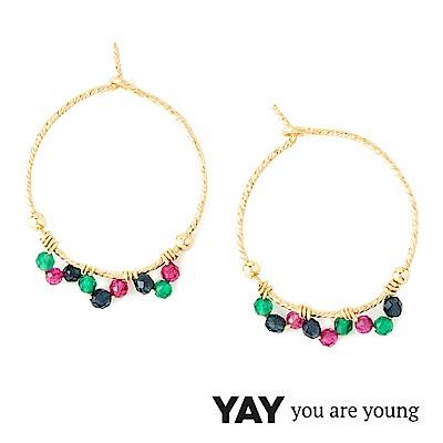 YAY You Are Young Frida 寶石花束耳環 經典圓耳環 彩鑽X星辰豆豆
