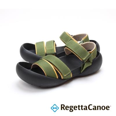RegettaCanoe-三條滾邊寬帶可調式樂步鞋-卡其色
