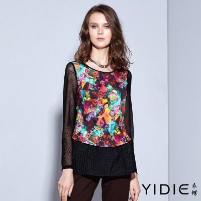 YIDIE衣蝶-圓領印花格紋網紗透膚袖上衣
