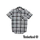Timberland 男款藍綠格紋Coolmax棉麻混紡短袖襯衫