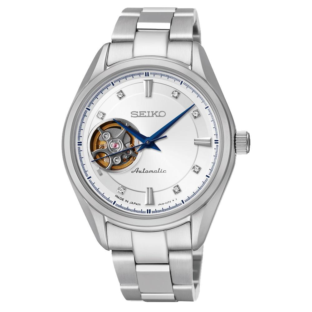 SEIKO Presage 4R38 開心系列機械腕錶(SSA871J1)-銀/34mm