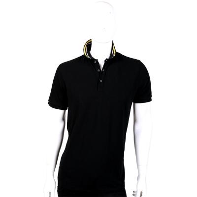 TRUSSARDI 黑色條紋領設計短袖POLO衫
