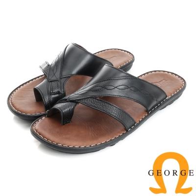 GEORGE 喬治-氣墊系列 真皮手縫涼鞋拖鞋(男)-黑色