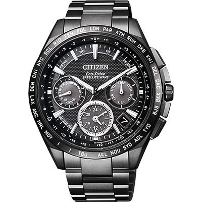 CITIZEN GPS 光動能衛星對時限量計時鈦金屬腕錶(CC9017-59E)-黑/43mm